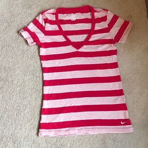 Nike, Sz Small, Pink Stripped, V neck T-Shirt.